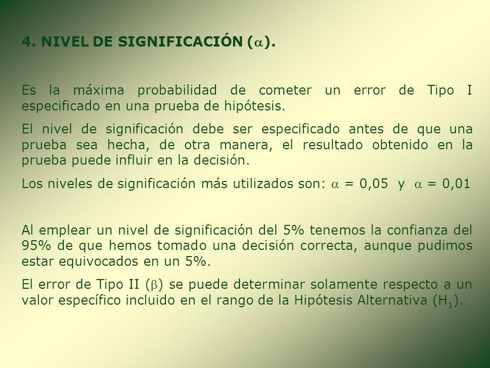 3. REGIÓN CRÍTICA O DE RECHAZO. Si la medida del resultado del proceso de una muestra es mayor o igual que un valor fijado (Valor Crítico), entonces s