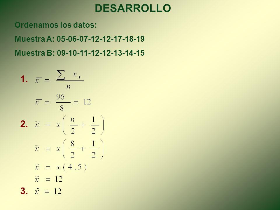 PRÁCTICA Las notas de estadística de dos muestras de alumnos en el sistema vigesimal son: Muestra A: 19-12-17-06-18-12-05-07 Muestra B: 15-12-10-14-09