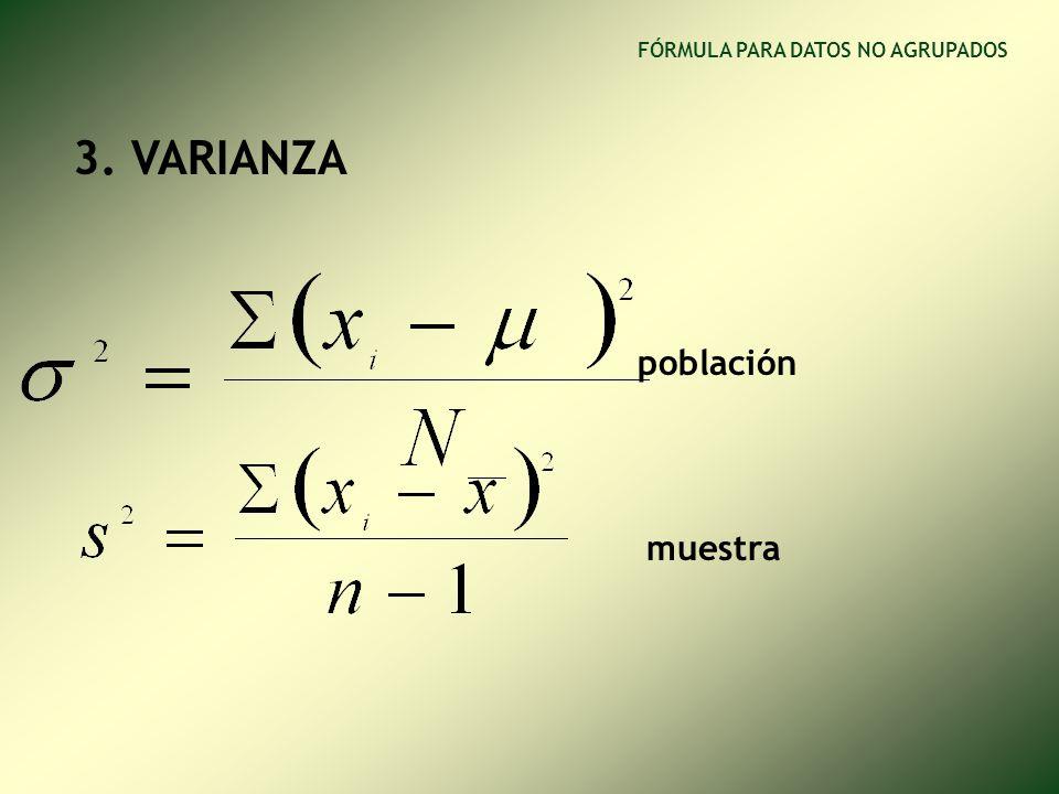 1. RANGO muestra población FÓRMULA PARA DATOS NO AGRUPADOS R x = X M – X m = X max – X min 2. DESVIACIÓN MEDIA
