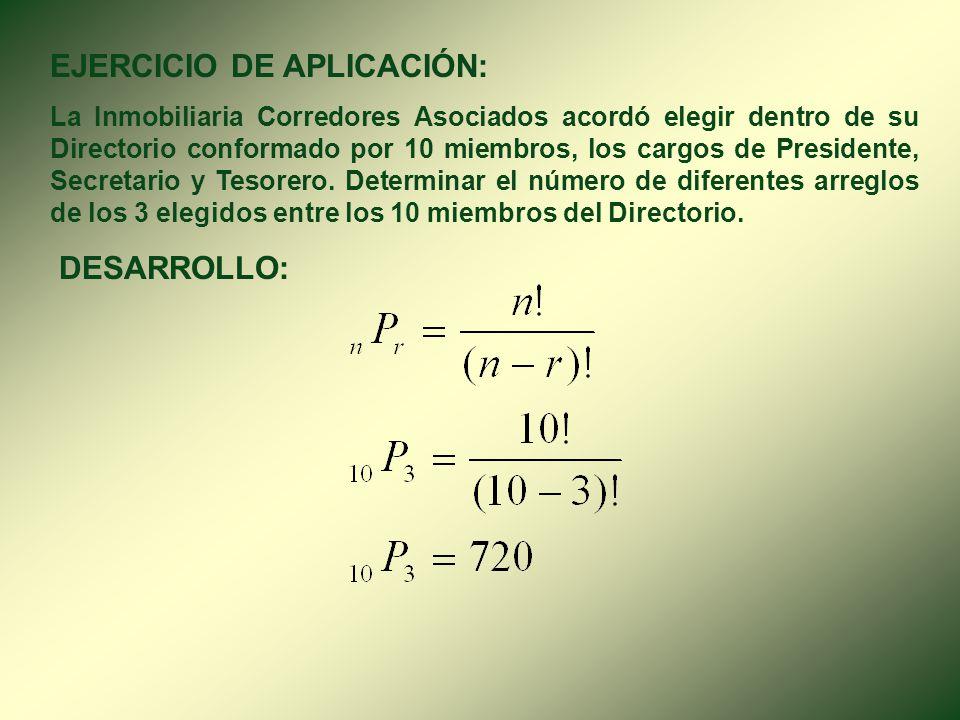 2. PERMUTACIÓN ( n P r ). Una permutación de n objetos diferentes tomados de r en r es una ordenación de r objetos entre los n dados. Es decir, la can
