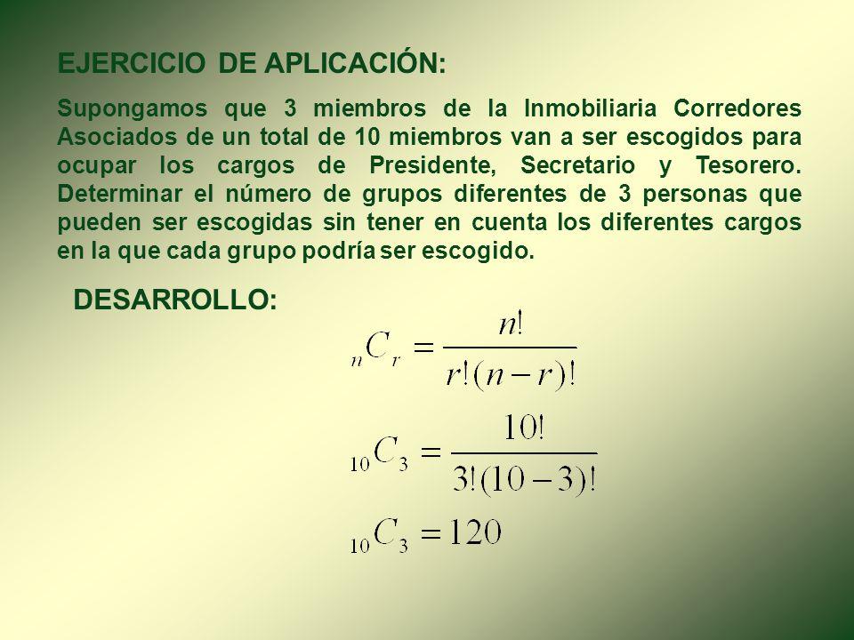 3. COMBINACIÓN ( n C r ). Se llama combinación de n elementos tomados de r en r, a los grupos que se pueden formar con esos elementos, tomados de r en