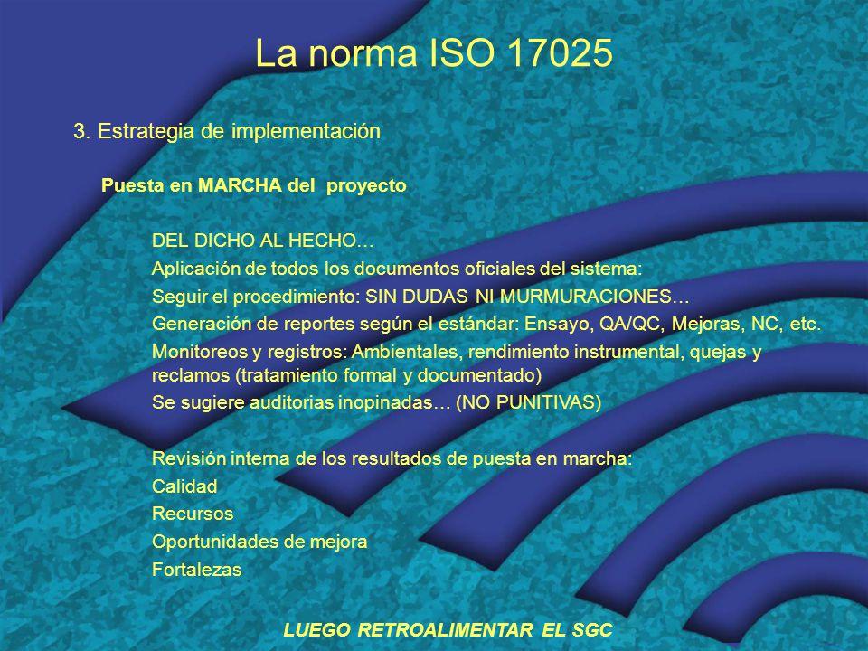 La norma ISO 17025 3. Estrategia de implementación Puesta en MARCHA del proyecto DEL DICHO AL HECHO… Aplicación de todos los documentos oficiales del