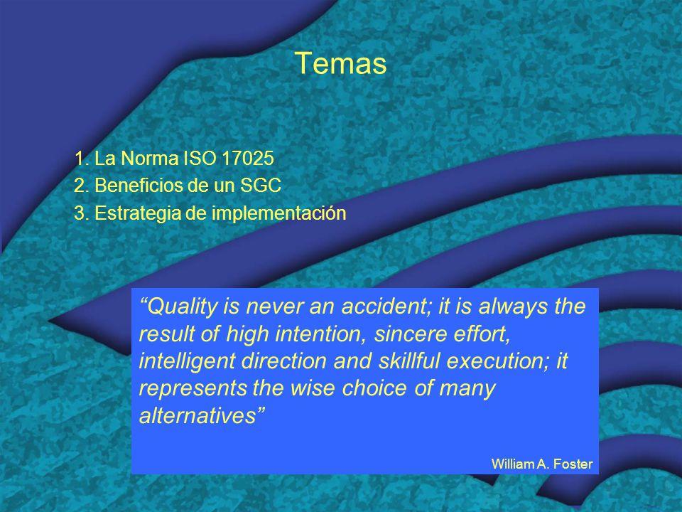 Temas 1.La Norma ISO 17025 2. Beneficios de un SGC 3.