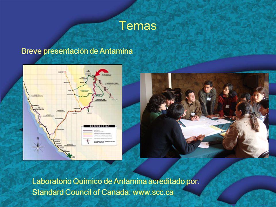 Temas Breve presentación de Antamina Laboratorio Químico de Antamina acreditado por: Standard Council of Canada: www.scc.ca