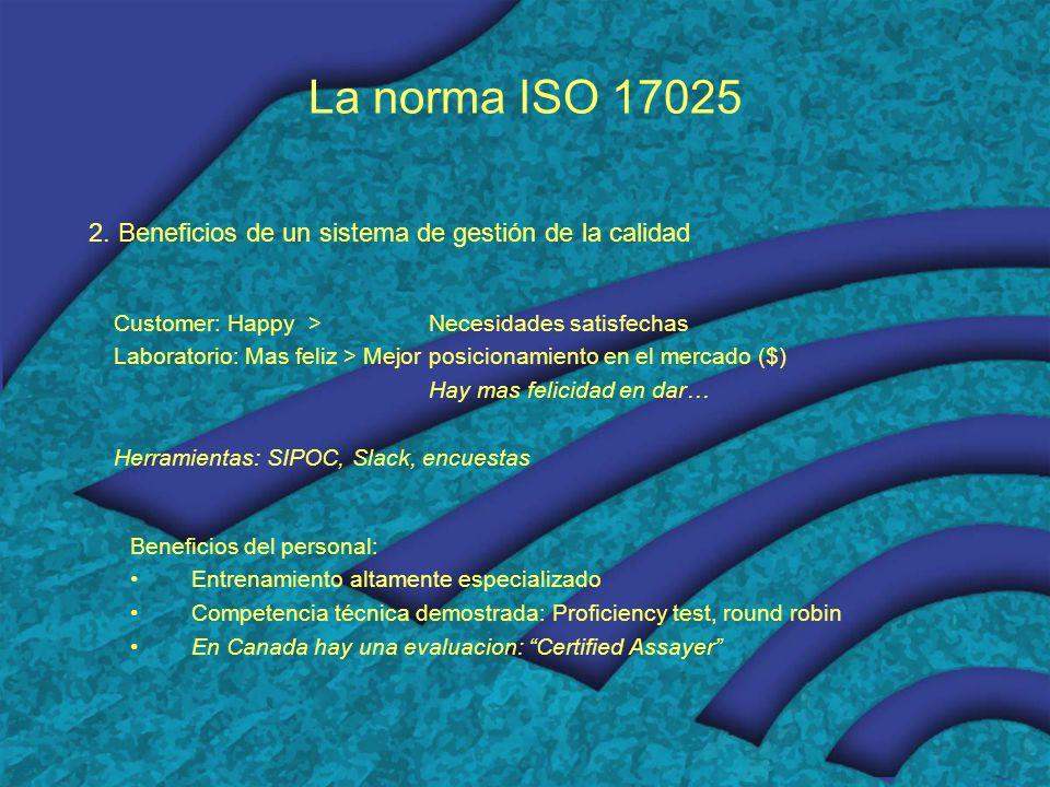 La norma ISO 17025 2. Beneficios de un sistema de gestión de la calidad Customer: Happy > Necesidades satisfechas Laboratorio: Mas feliz > Mejor posic