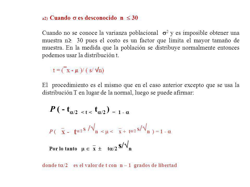 a2) Cuando es desconocido n 30 Cuando no se conoce la varianza poblacional 2 y es imposible obtener una muestra n 30 pues el costo es un factor que limita el mayor tamaño de muestra.