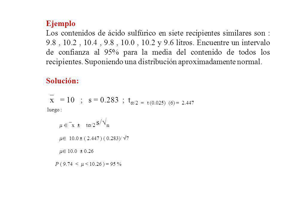 Ejemplo Los contenidos de ácido sulfúrico en siete recipientes similares son : 9.8, 10.2, 10.4, 9.8, 10.0, 10.2 y 9.6 litros.