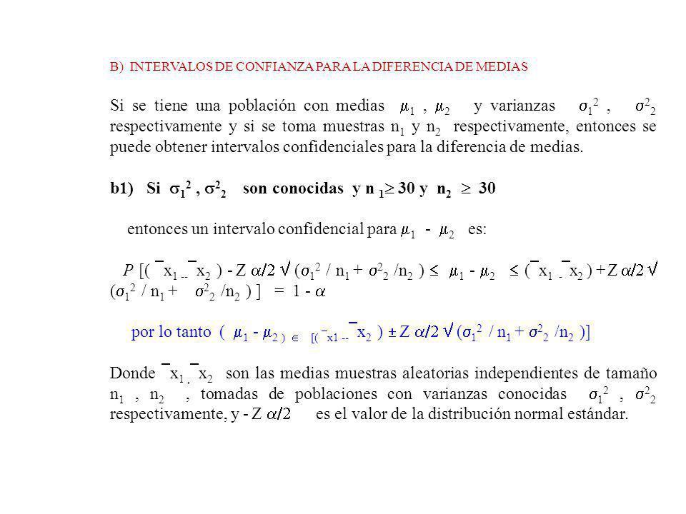 B) INTERVALOS DE CONFIANZA PARA LA DIFERENCIA DE MEDIAS Si se tiene una población con medias 1, 2 y varianzas 1 2, 2 2 respectivamente y si se toma muestras n 1 y n 2 respectivamente, entonces se puede obtener intervalos confidenciales para la diferencia de medias.