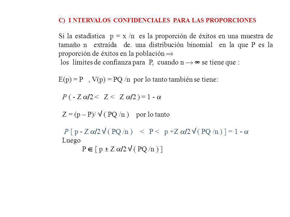 C) I NTERVALOS CONFIDENCIALES PARA LAS PROPORCIONES Si la estadística p = x /n es la proporción de éxitos en una muestra de tamaño n extraída de.