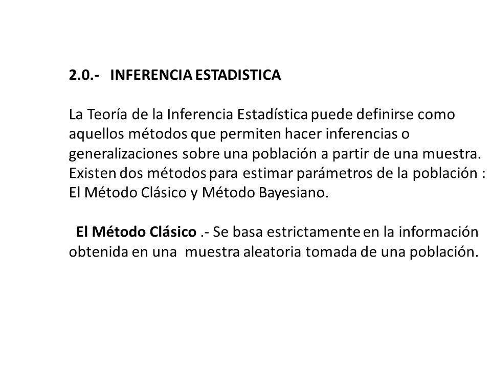 2.0.- INFERENCIA ESTADISTICA La Teoría de la Inferencia Estadística puede definirse como aquellos métodos que permiten hacer inferencias o generalizaciones sobre una población a partir de una muestra.