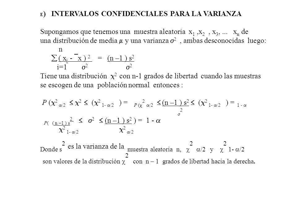 E ) INTERVALOS CONFIDENCIALES PARA LA VARIANZA Supongamos que tenemos una muestra aleatoria x 1,x 2, x 3,...