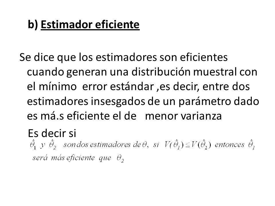 b) Estimador eficiente Se dice que los estimadores son eficientes cuando generan una distribución muestral con el mínimo error estándar,es decir, entre dos estimadores insesgados de un parámetro dado es má.s eficiente el de menor varianza Es decir si