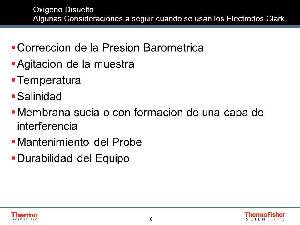 10 Oxigeno Disuelto Algunas Consideraciones a seguir cuando se usan los Electrodos Clark Correccion de la Presion Barometrica Agitacion de la muestra