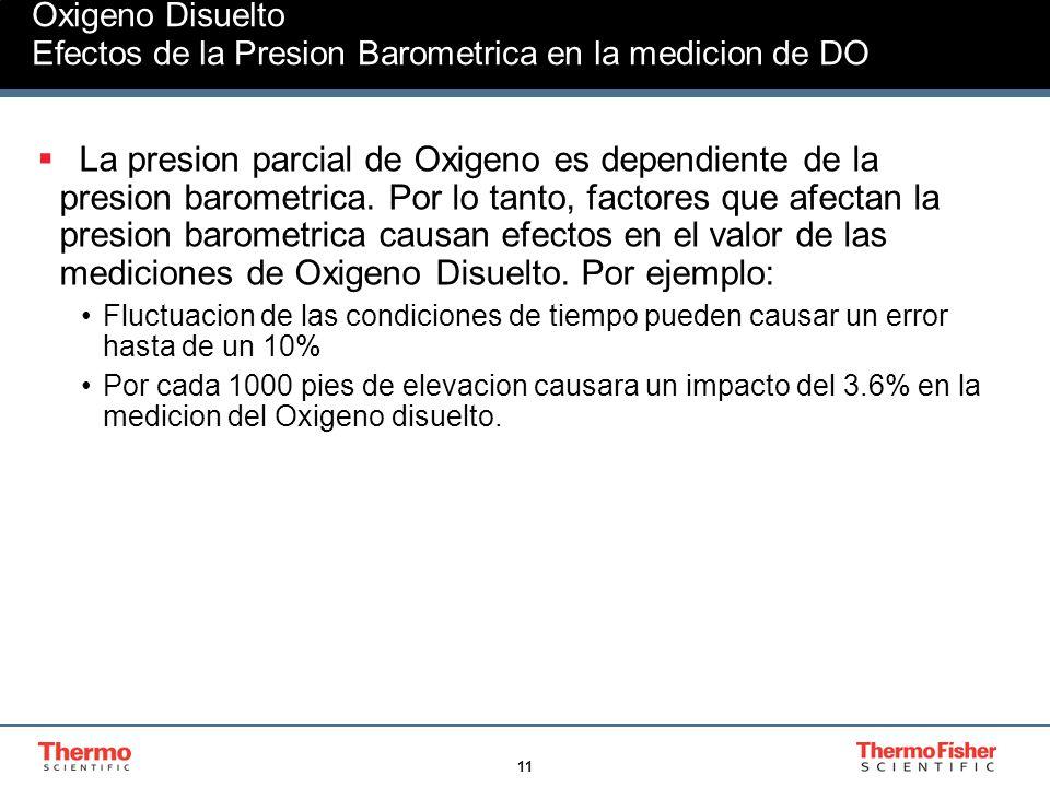 11 Oxigeno Disuelto Efectos de la Presion Barometrica en la medicion de DO La presion parcial de Oxigeno es dependiente de la presion barometrica. Por