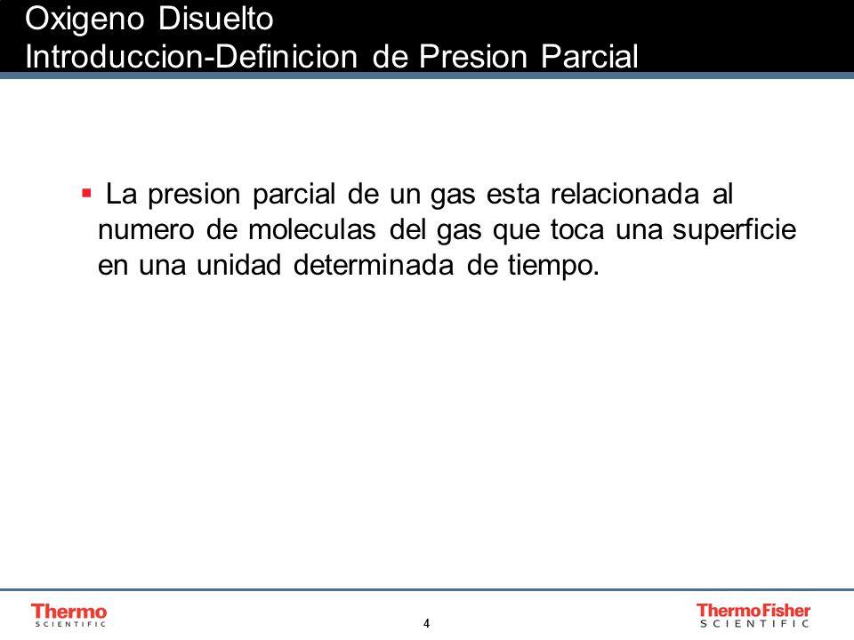 4 Oxigeno Disuelto Introduccion-Definicion de Presion Parcial La presion parcial de un gas esta relacionada al numero de moleculas del gas que toca un