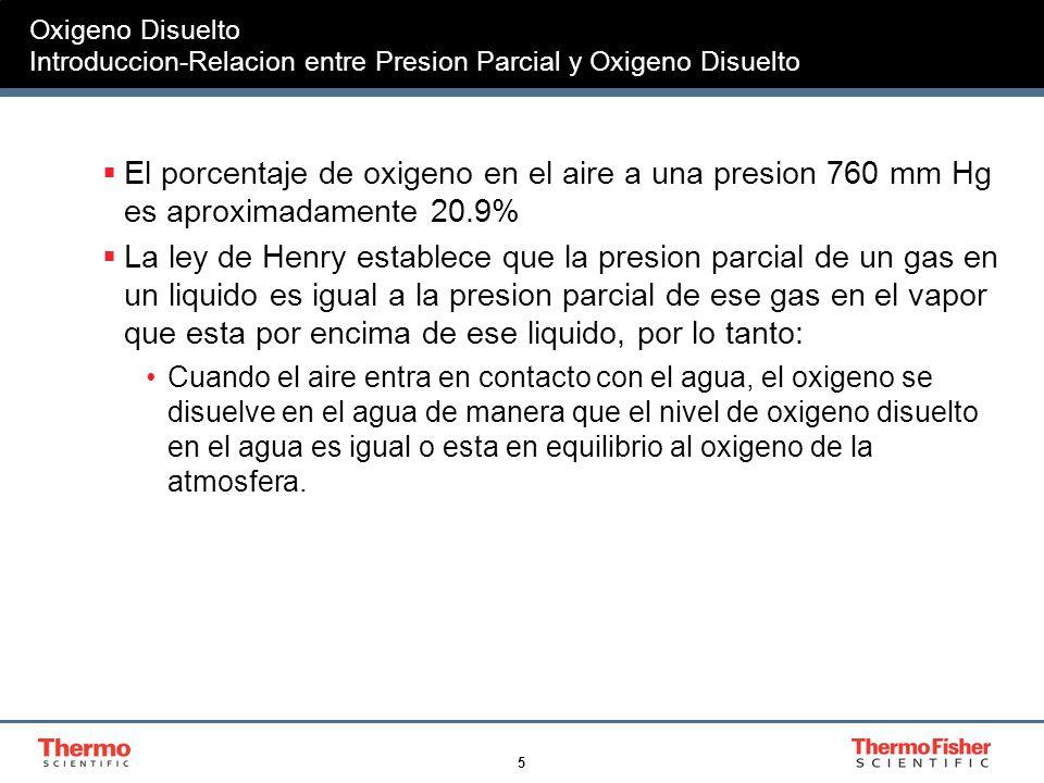 5 Oxigeno Disuelto Introduccion-Relacion entre Presion Parcial y Oxigeno Disuelto El porcentaje de oxigeno en el aire a una presion 760 mm Hg es aprox