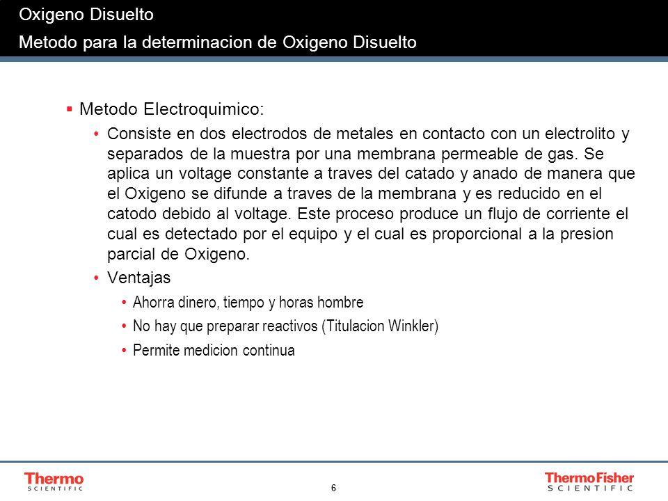 6 Oxigeno Disuelto Metodo para la determinacion de Oxigeno Disuelto Metodo Electroquimico: Consiste en dos electrodos de metales en contacto con un el