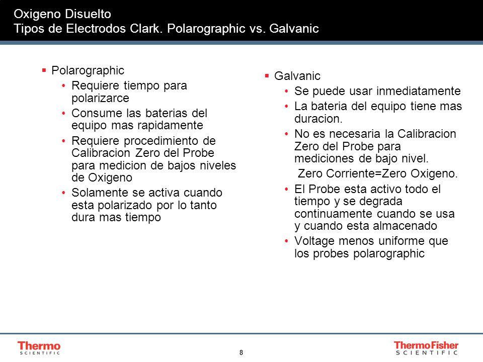 8 Oxigeno Disuelto Tipos de Electrodos Clark. Polarographic vs. Galvanic Polarographic Requiere tiempo para polarizarce Consume las baterias del equip