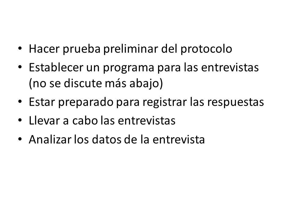 Hacer prueba preliminar del protocolo Establecer un programa para las entrevistas (no se discute más abajo) Estar preparado para registrar las respuestas Llevar a cabo las entrevistas Analizar los datos de la entrevista