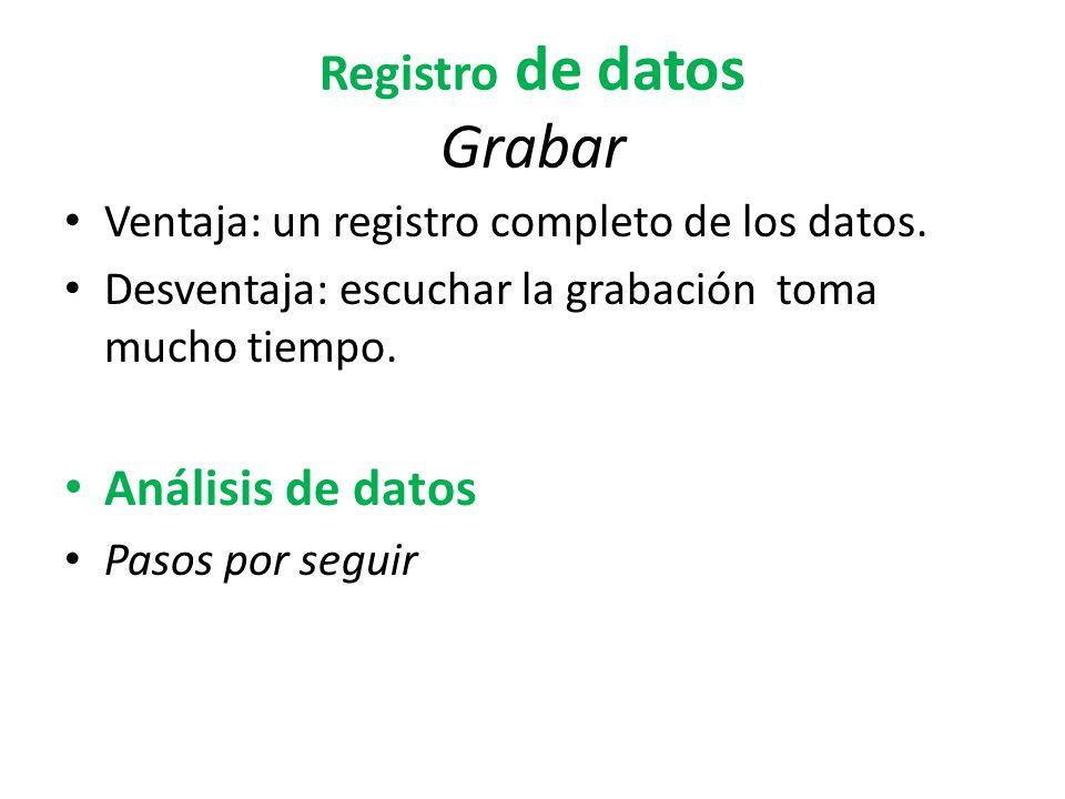 Registro de datos Grabar Ventaja: un registro completo de los datos. Desventaja: escuchar la grabación toma mucho tiempo. Análisis de datos Pasos por