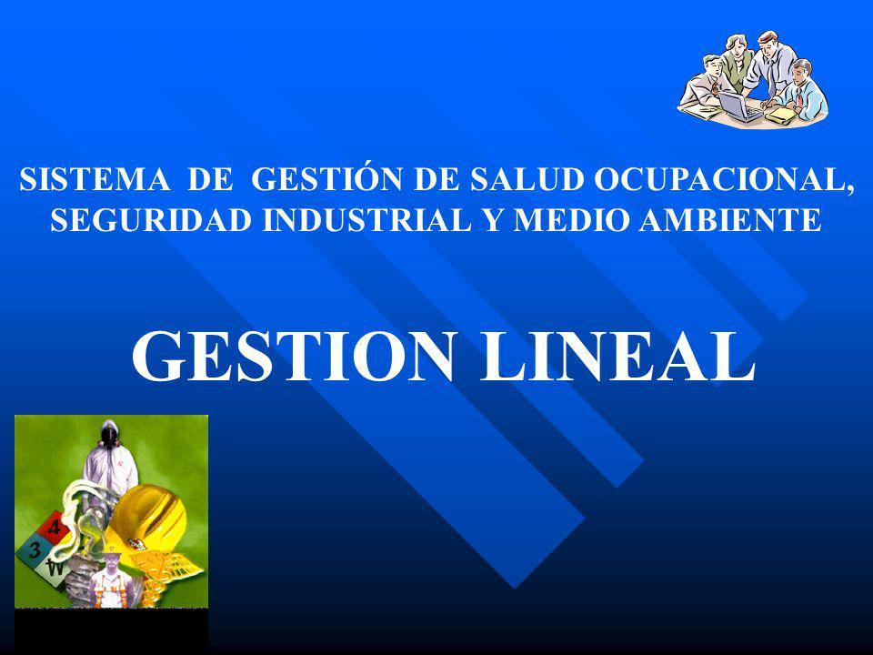 SISTEMA DE GESTIÓN DE SALUD OCUPACIONAL, SEGURIDAD INDUSTRIAL Y MEDIO AMBIENTE GESTION LINEAL