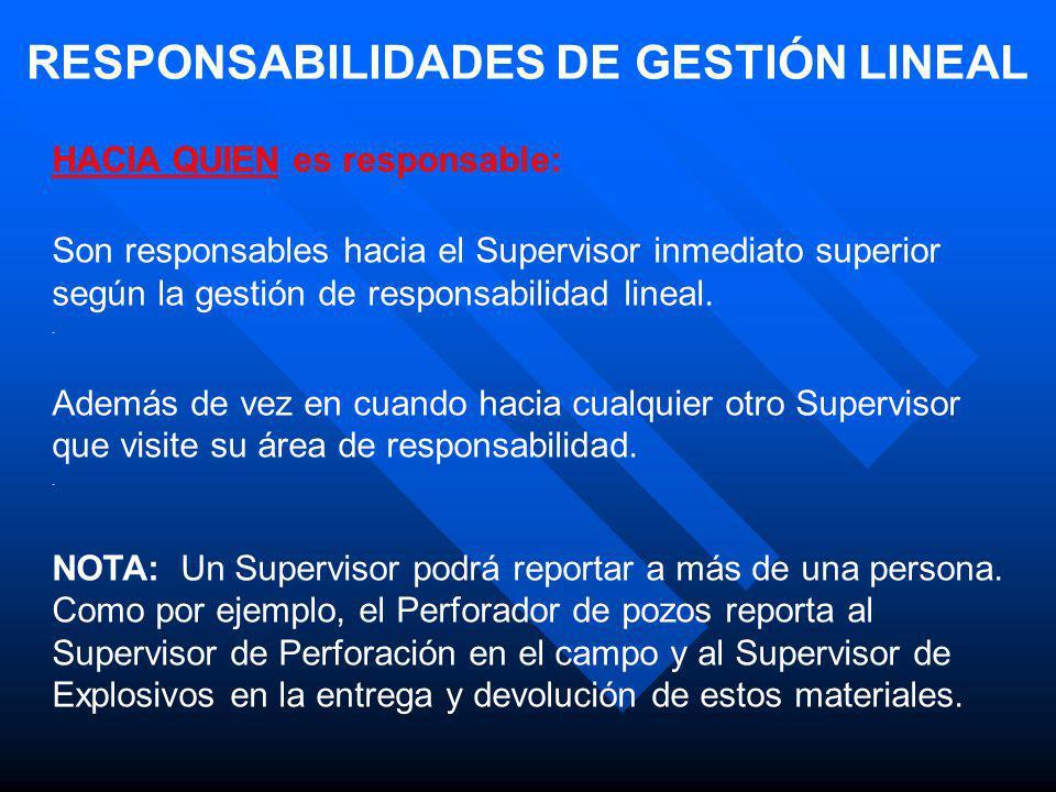 RESPONSABILIDADES DE GESTIÓN LINEAL HACIA QUIEN es responsable: Son responsables hacia el Supervisor inmediato superior según la gestión de responsabi
