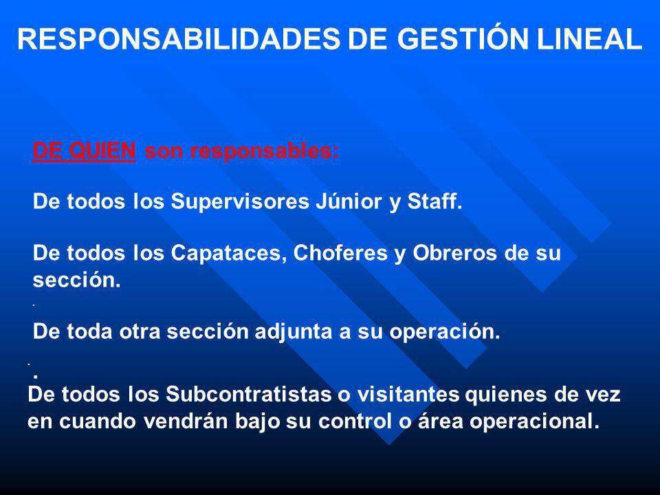 RESPONSABILIDADES DE GESTIÓN LINEAL DE QUIEN son responsables: De todos los Supervisores Júnior y Staff. De todos los Capataces, Choferes y Obreros de