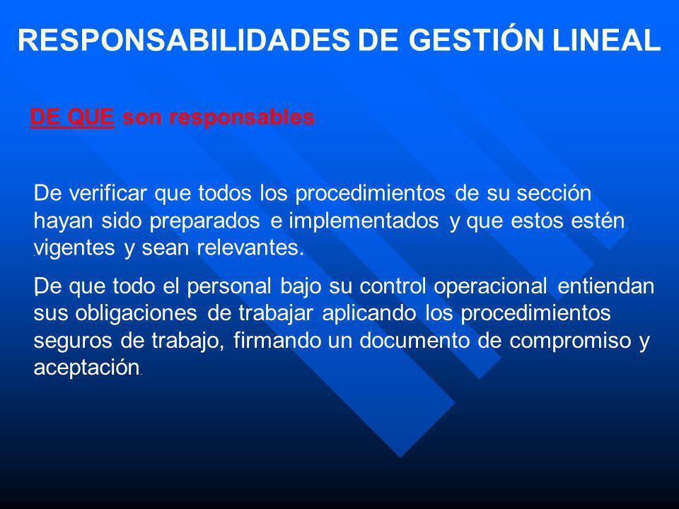 RESPONSABILIDADES DE GESTIÓN LINEAL DE QUE son responsables: De que todo el personal bajo su control estén adecuadamente equipados con los Equipos de Protección Personal (EPP), y estos sean utilizados.