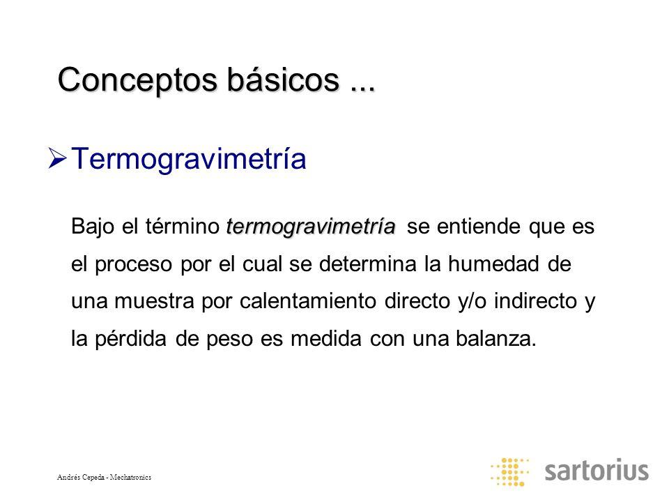 Andrés Cepeda - Mechatronics Conceptos básicos... Termogravimetría termogravimetría Bajo el término termogravimetría se entiende que es el proceso por