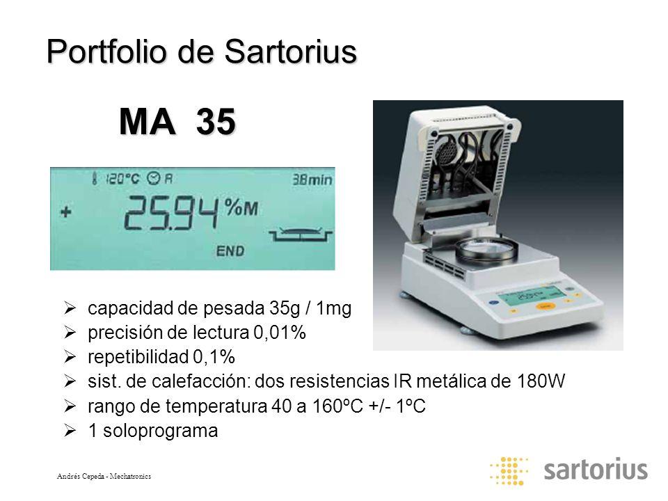 Andrés Cepeda - Mechatronics Portfolio de Sartorius capacidad de pesada 35g / 1mg precisión de lectura 0,01% repetibilidad 0,1% sist.