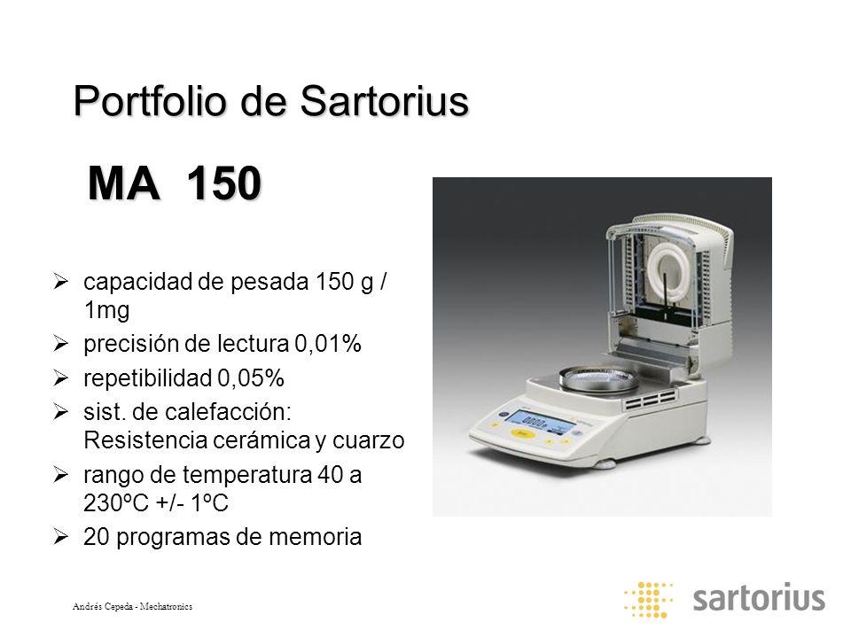 Andrés Cepeda - Mechatronics Portfolio de Sartorius capacidad de pesada 150 g / 1mg precisión de lectura 0,01% repetibilidad 0,05% sist. de calefacció