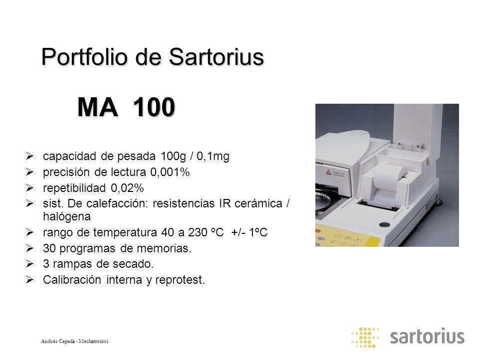 Andrés Cepeda - Mechatronics Portfolio de Sartorius capacidad de pesada 100g / 0,1mg precisión de lectura 0,001% repetibilidad 0,02% sist. De calefacc
