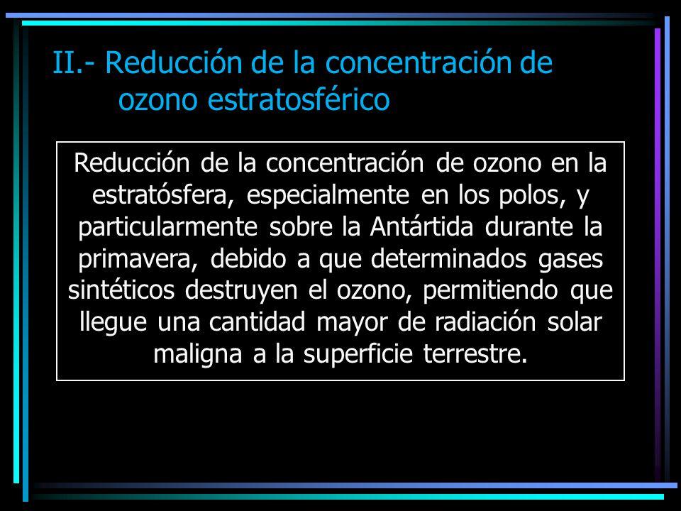 II.- Reducción de la concentración de ozono estratosférico Reducción de la concentración de ozono en la estratósfera, especialmente en los polos, y pa