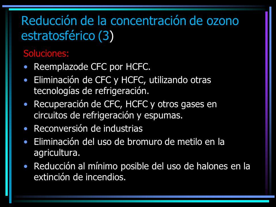 Reducción de la concentración de ozono estratosférico (3) Soluciones: Reemplazode CFC por HCFC. Eliminación de CFC y HCFC, utilizando otras tecnología