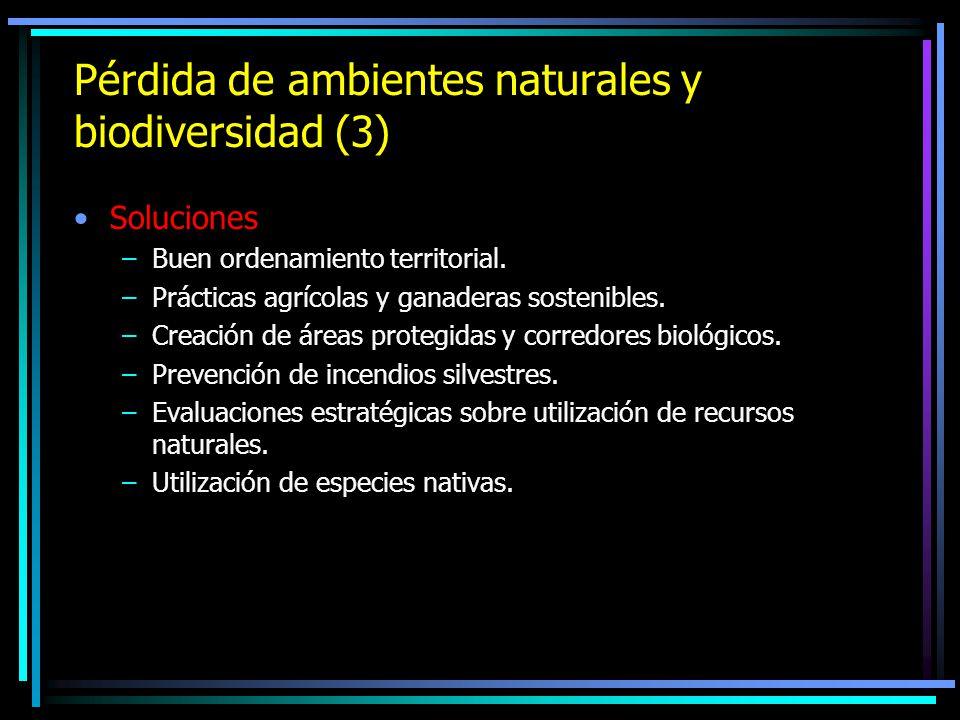 Pérdida de ambientes naturales y biodiversidad (3) Soluciones –Buen ordenamiento territorial. –Prácticas agrícolas y ganaderas sostenibles. –Creación