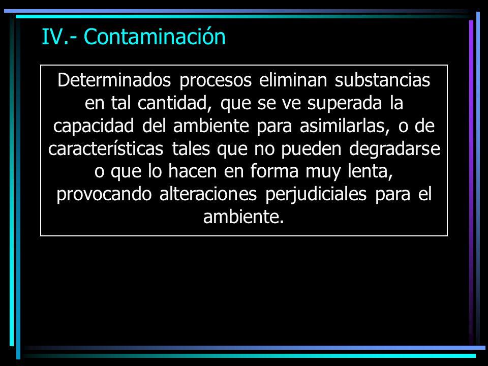 IV.- Contaminación Determinados procesos eliminan substancias en tal cantidad, que se ve superada la capacidad del ambiente para asimilarlas, o de car