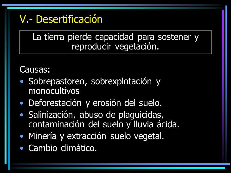 V.- Desertificación Causas: Sobrepastoreo, sobrexplotación y monocultivos Deforestación y erosión del suelo. Salinización, abuso de plaguicidas, conta