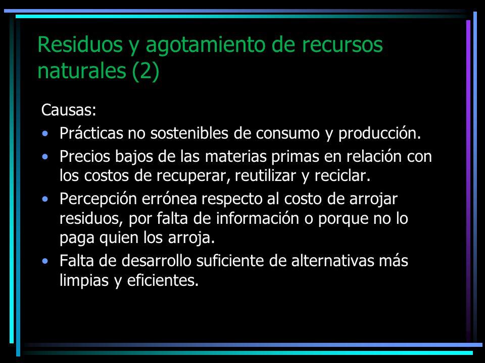 Residuos y agotamiento de recursos naturales (2) Causas: Prácticas no sostenibles de consumo y producción. Precios bajos de las materias primas en rel