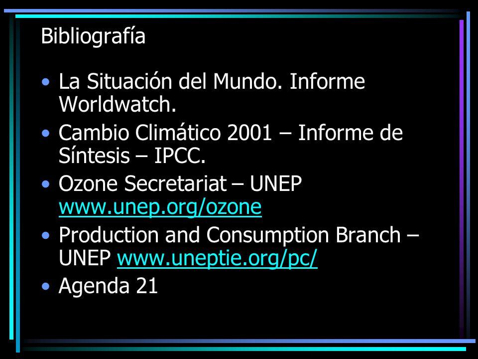 Bibliografía La Situación del Mundo. Informe Worldwatch. Cambio Climático 2001 – Informe de Síntesis – IPCC. Ozone Secretariat – UNEP www.unep.org/ozo