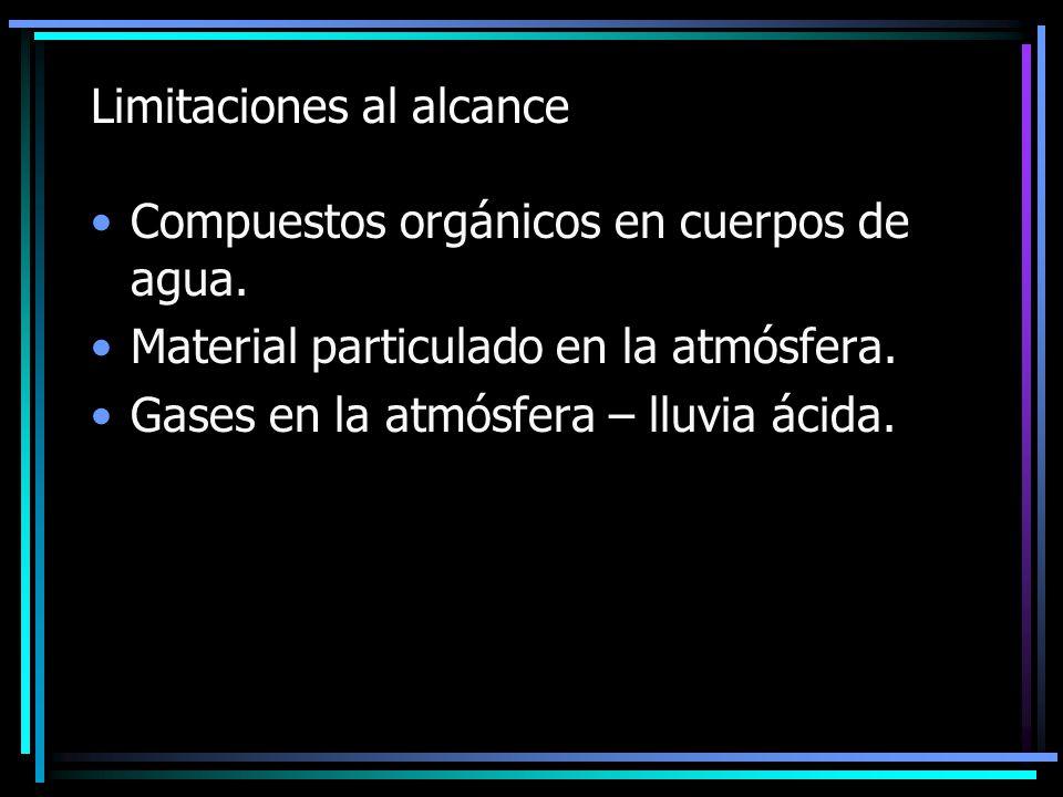Limitaciones al alcance Compuestos orgánicos en cuerpos de agua. Material particulado en la atmósfera. Gases en la atmósfera – lluvia ácida.