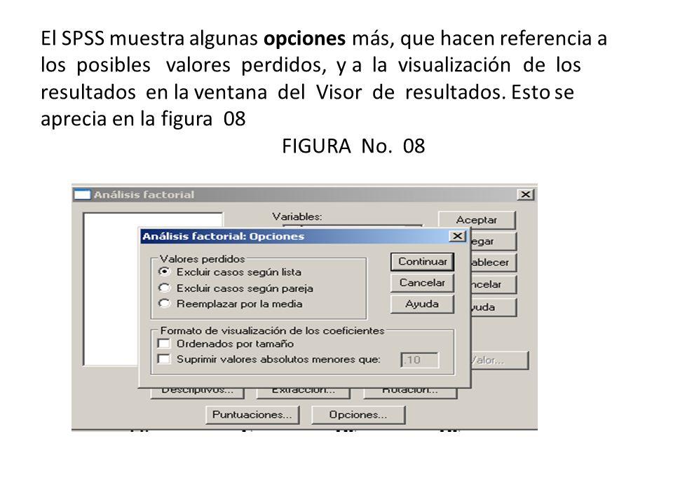 El SPSS muestra algunas opciones más, que hacen referencia a los posibles valores perdidos, y a la visualización de los resultados en la ventana del Visor de resultados.