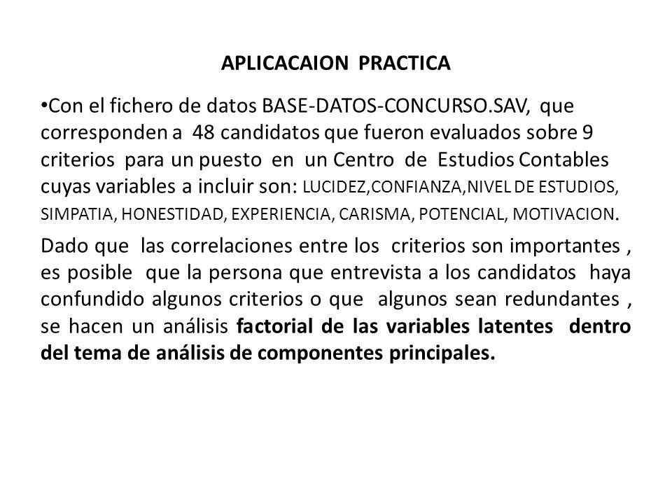 APLICACAION PRACTICA Con el fichero de datos BASE-DATOS-CONCURSO.SAV, que corresponden a 48 candidatos que fueron evaluados sobre 9 criterios para un puesto en un Centro de Estudios Contables cuyas variables a incluir son: LUCIDEZ,CONFIANZA,NIVEL DE ESTUDIOS, SIMPATIA, HONESTIDAD, EXPERIENCIA, CARISMA, POTENCIAL, MOTIVACION.