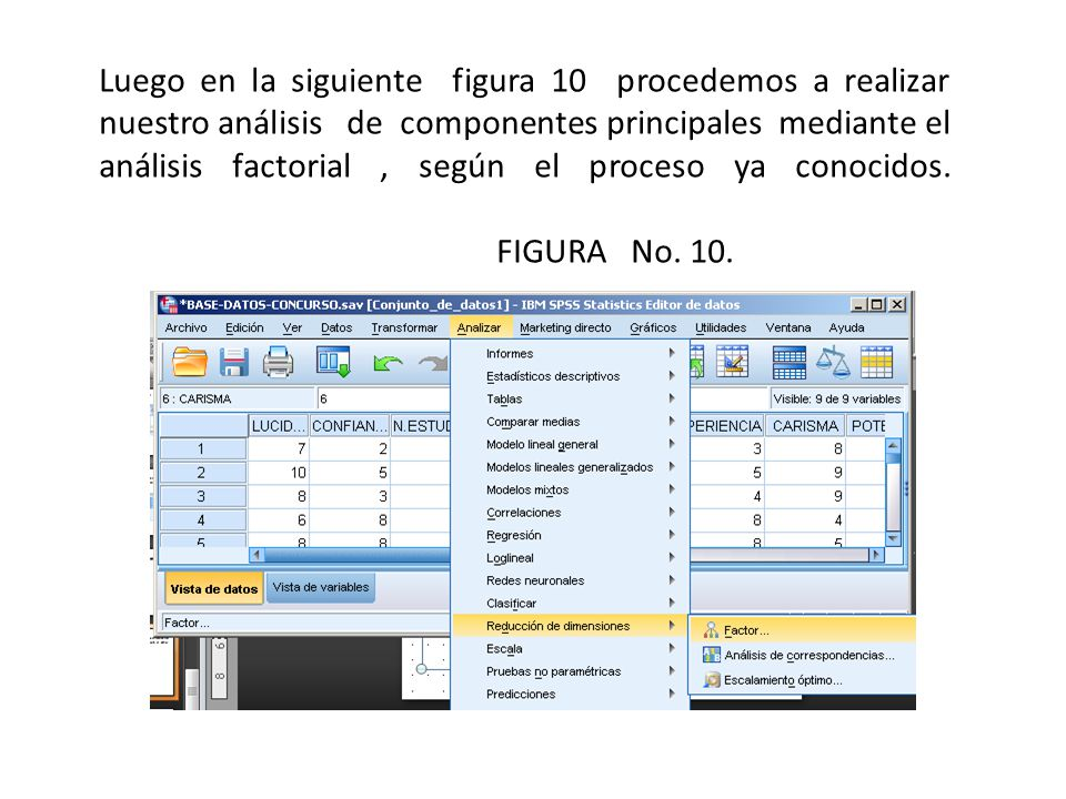 Luego en la siguiente figura 10 procedemos a realizar nuestro análisis de componentes principales mediante el análisis factorial, según el proceso ya conocidos.