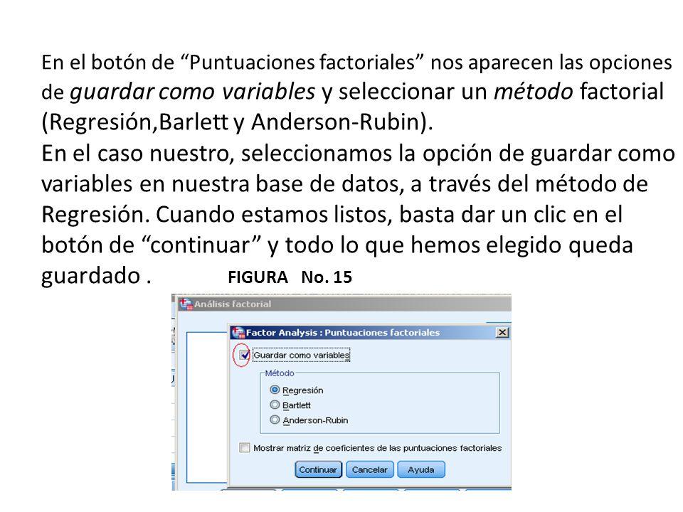 En el botón de Puntuaciones factoriales nos aparecen las opciones de guardar como variables y seleccionar un método factorial (Regresión,Barlett y And