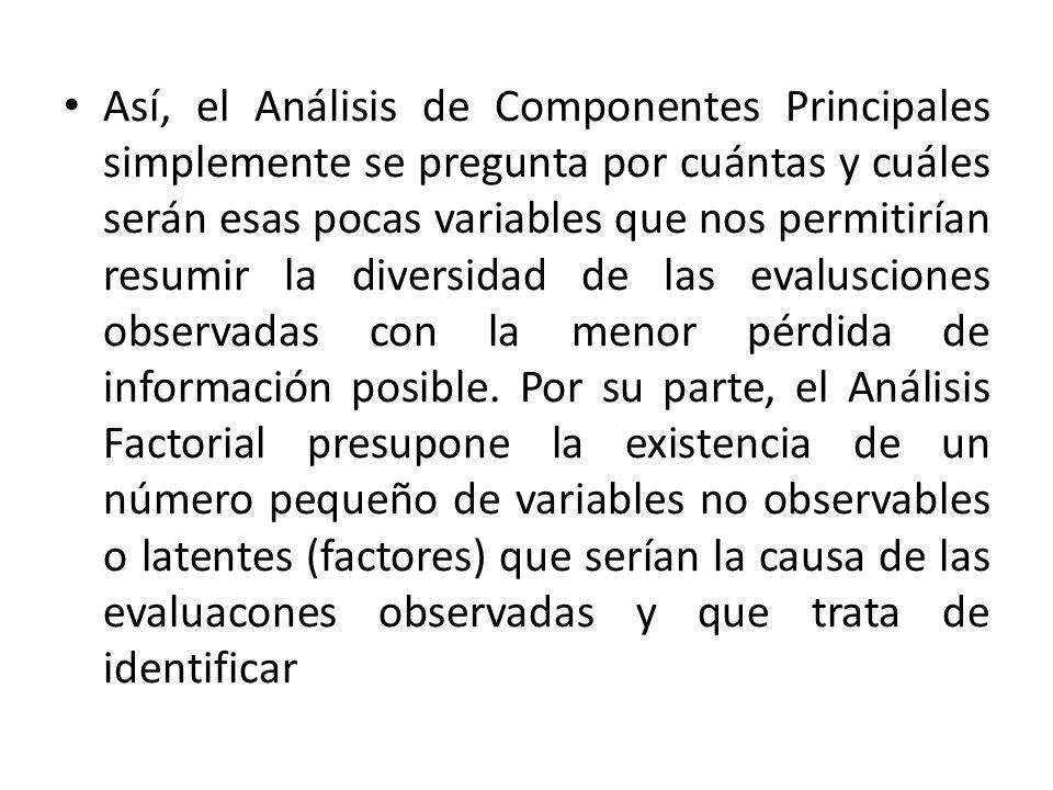 Así, el Análisis de Componentes Principales simplemente se pregunta por cuántas y cuáles serán esas pocas variables que nos permitirían resumir la div