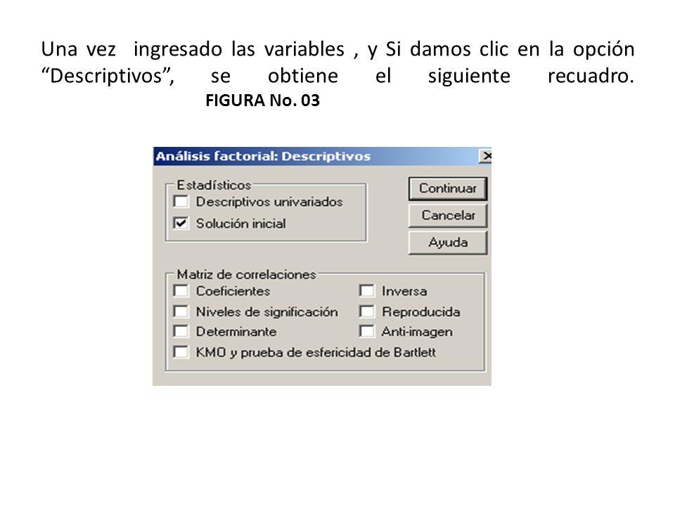 Una vez ingresado las variables, y Si damos clic en la opción Descriptivos, se obtiene el siguiente recuadro. FIGURA No. 03