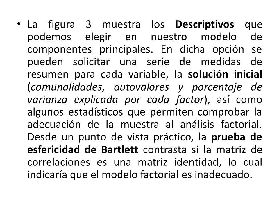La figura 3 muestra los Descriptivos que podemos elegir en nuestro modelo de componentes principales. En dicha opción se pueden solicitar una serie de