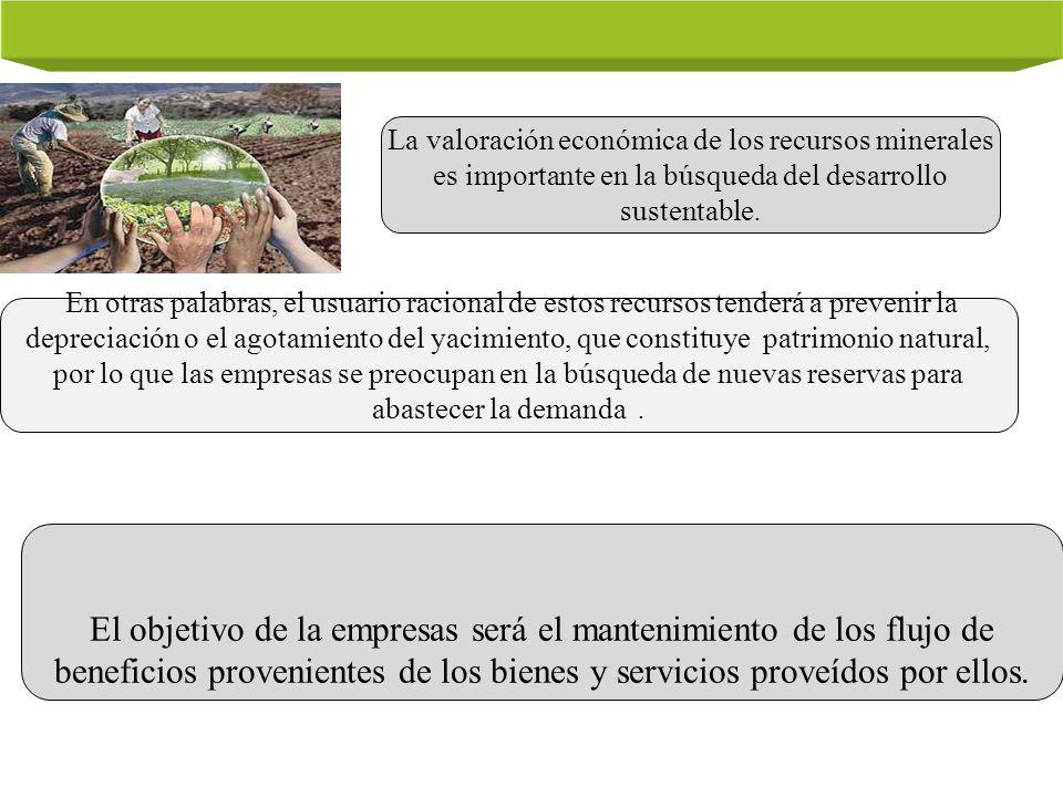 La valoración económica de los recursos minerales es importante en la búsqueda del desarrollo sustentable. En otras palabras, el usuario racional de e