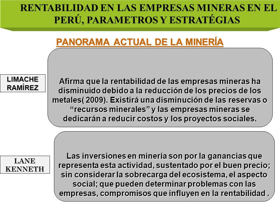 PANORAMA ACTUAL DE LA MINERÍA RENTABILIDAD EN LAS EMPRESAS MINERAS EN EL PERÚ, PARAMETROS Y ESTRATÉGIAS LIMACHE RAMÍREZ LANE KENNETH Afirma que la rentabilidad de las empresas mineras ha disminuido debido a la reducción de los precios de los metales( 2009).