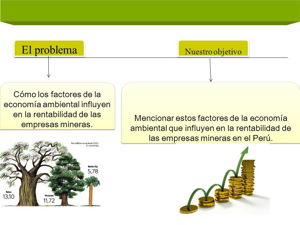 El problema Nuestro objetivo Cómo los factores de la economía ambiental influyen en la rentabilidad de las empresas mineras. Mencionar estos factores